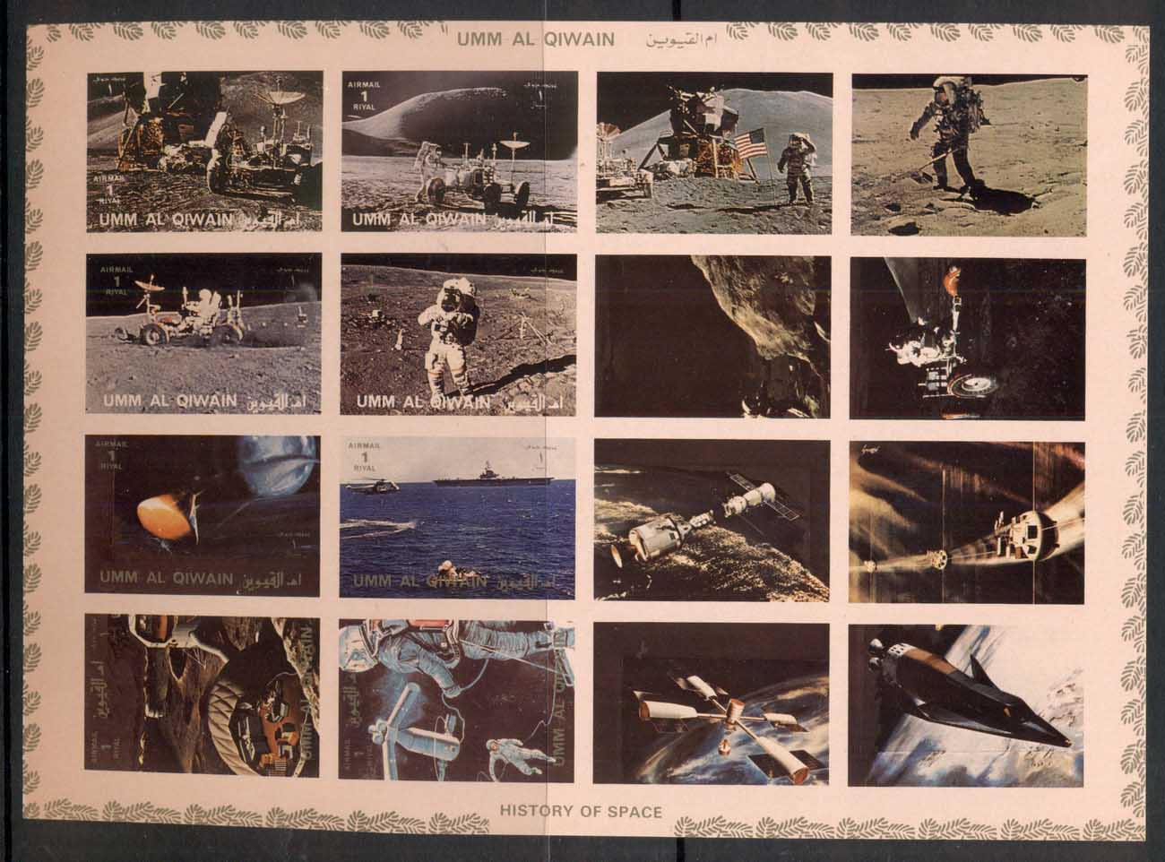 Umm Al Qiwain 1972 Mi#1194-1201B History of Space, Moon Exploration IMPERF sheetlet MUH