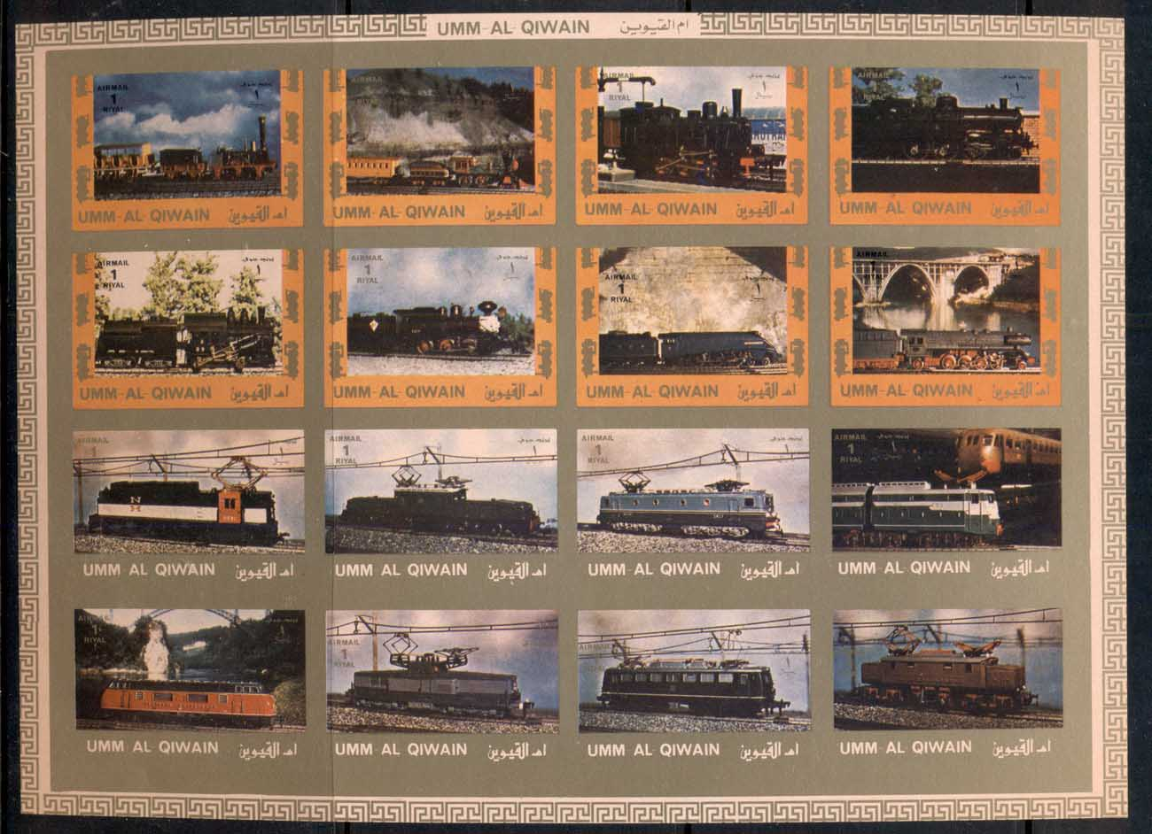 Umm Al Qiwain 1972 Mi#1210-1225B Locomotives Old & New IMPERF sheetlet MUH