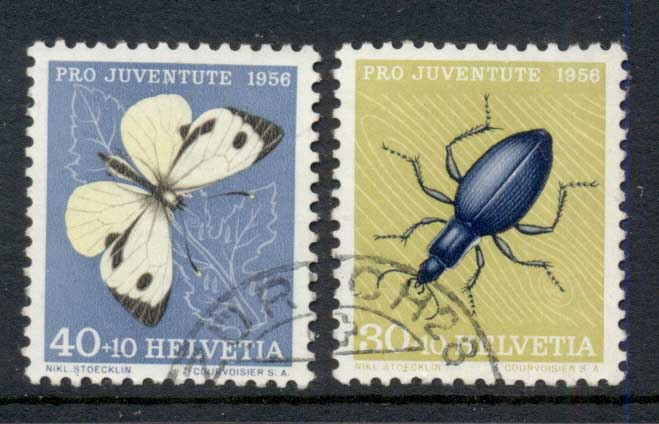 Switzerland 1956 Welfare Insects, Butterfly, Beetle 30c, 40c FU