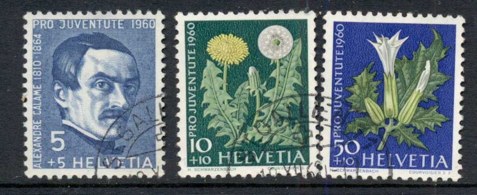 Switzerland 1960 Welfare Flowers 5c, 10c, 50c FU