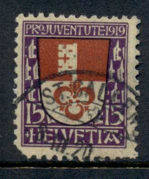Switzerland 1919 Welfare Arms, Obwalden (short cnr) FU