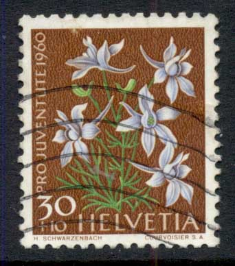 Switzerland 1960 Welfare, Flowers 30c FU