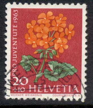 Switzerland 1963 Welfare, Flowers 20c FU