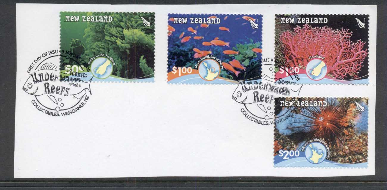 New Zealand 2008 Marine Life, Fish, Underwater Reefs on piece FDI