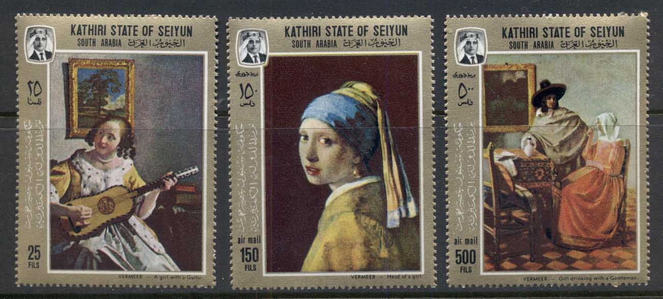 Aden Kathiri State of Seiyun 1967 Mi#160-162 Paintings by Jan Vermeer van Delft MUH