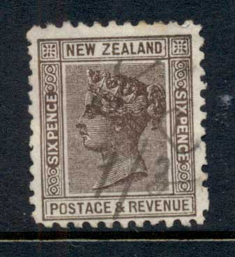 New Zealand 1882 QV 6d brown Fisc U