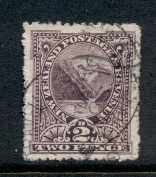 New Zealand 1899-1900 Pictorial Pembroke Peak 2d violet FU