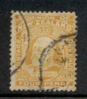New Zealand 1909-12 KEVII Engraved 4d FU