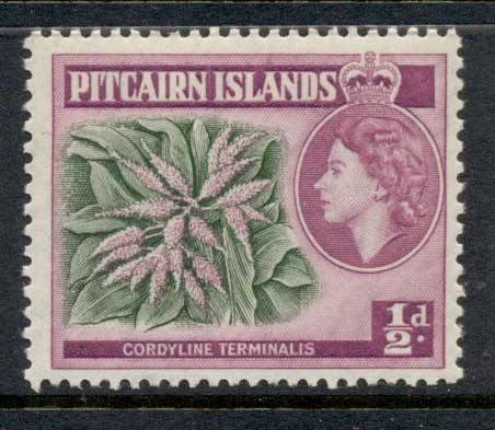 Pitcairn Is 1957 QEII Pictorial, 1/2d Flowers MUH
