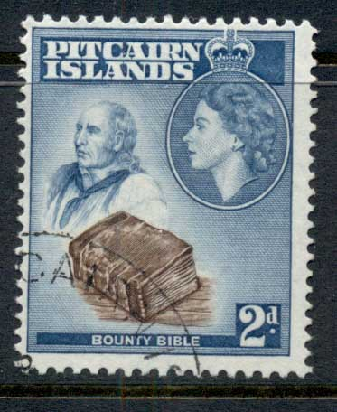 Pitcairn Is 1957 QEII Pictorial, 2d Bounty Bible FU