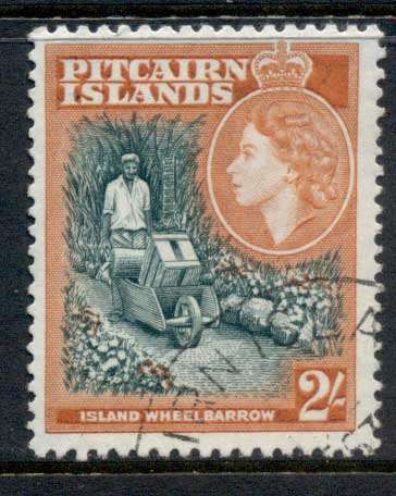 Pitcairn Is 1957 QEII Pictorial, 2/- Wheelbarrow FU