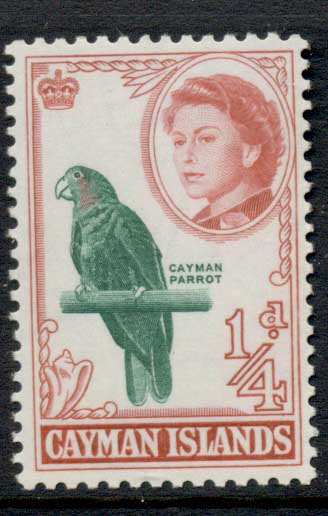 Cayman Is 1962 QEII Pictorial, 0.25d Parrot MLH