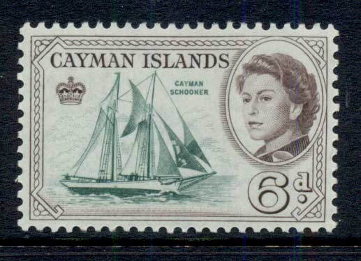 Cayman Is 1962 QEII Pictorial, 6d Cayman Schooner MLH