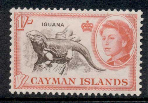 Cayman Is 1962 QEII Pictorial, 1/- Iguana MLH