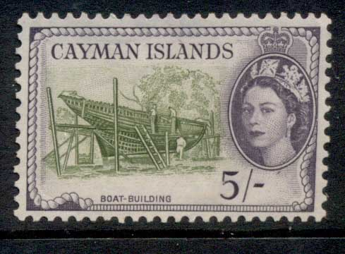 Cayman Is 1953-59 QEII Pictorial, 5/- Boat Building MLH