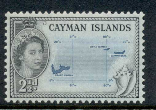 Cayman Is 1953-59 QEII Pictorial, 2.5d Map MLH