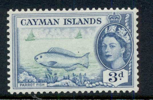 Cayman Is 1953-59 QEII Pictorial, 3d Parrot Fish MLH
