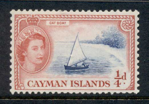 Cayman Is 1953-59 QEII Pictorial, 0.25d Catboat Turtles MLH