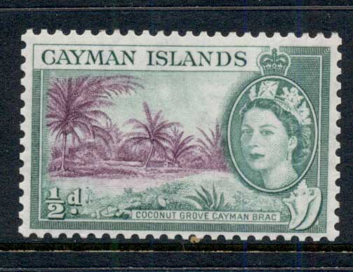 Cayman Is 1953-59 QEII Pictorial, 0.5d Coconut Grove MLH