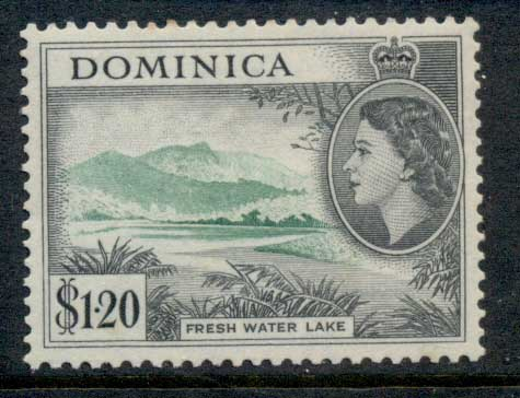 Dominica 1954 QEII Pictorial, $1.20 Freshwater Lake MLH