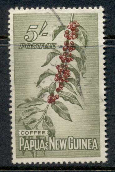 PNG 1958-60 Coffee 5/- FU