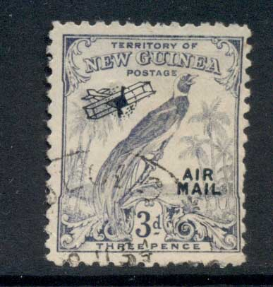 New Guinea 1932-34 Bird of Paradise Opt Airmail 3d FU