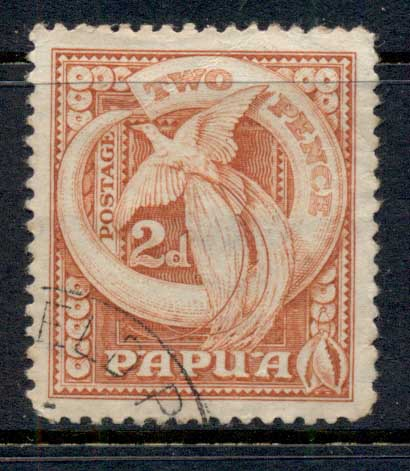 Papua 1932 Pictorial, Bird of Paradise & Boars Tusk 2d FU
