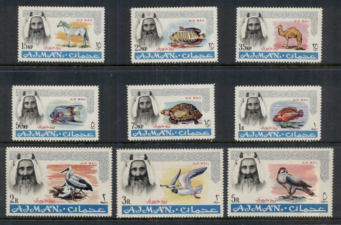 Ajman 1965 Mi#63-71 Definitives, Indigenous Fauna, Airmail MUH