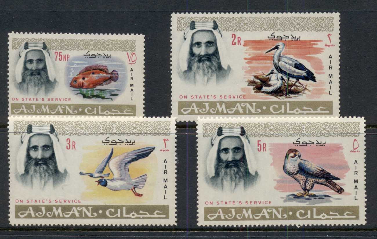 Ajman 1965 Mi#6-9 Definitives, Indigenous Fauna, Official Airmail MUH