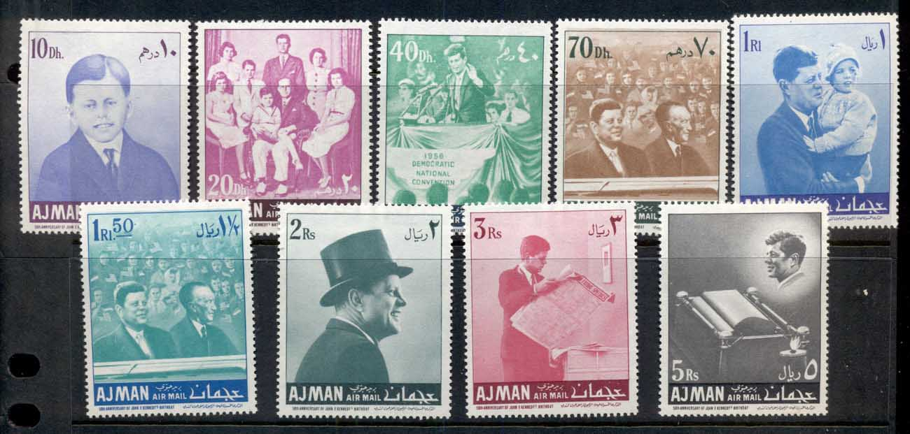 Ajman 1967 Mi#141-149 50th Anniversary of JFK Kennedy's Birthday MUH