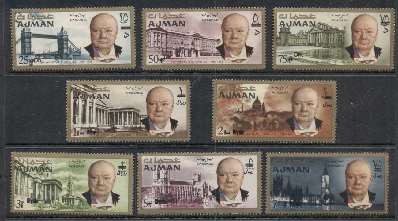 Ajman 1967 Mi#117-124 Winston Churchill, Opt New Currency MUH