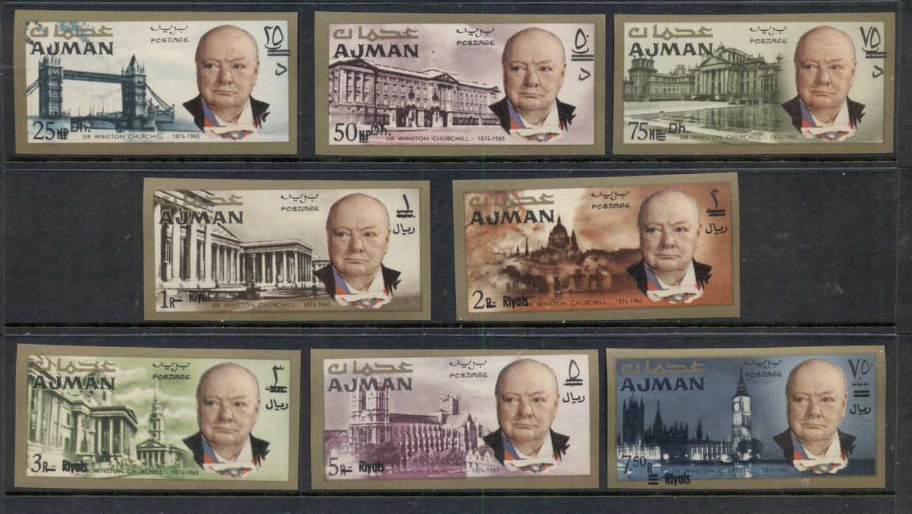 Ajman 1967 Mi#117-124B Winston Churchill, Opt New Currency IMPERF MUH