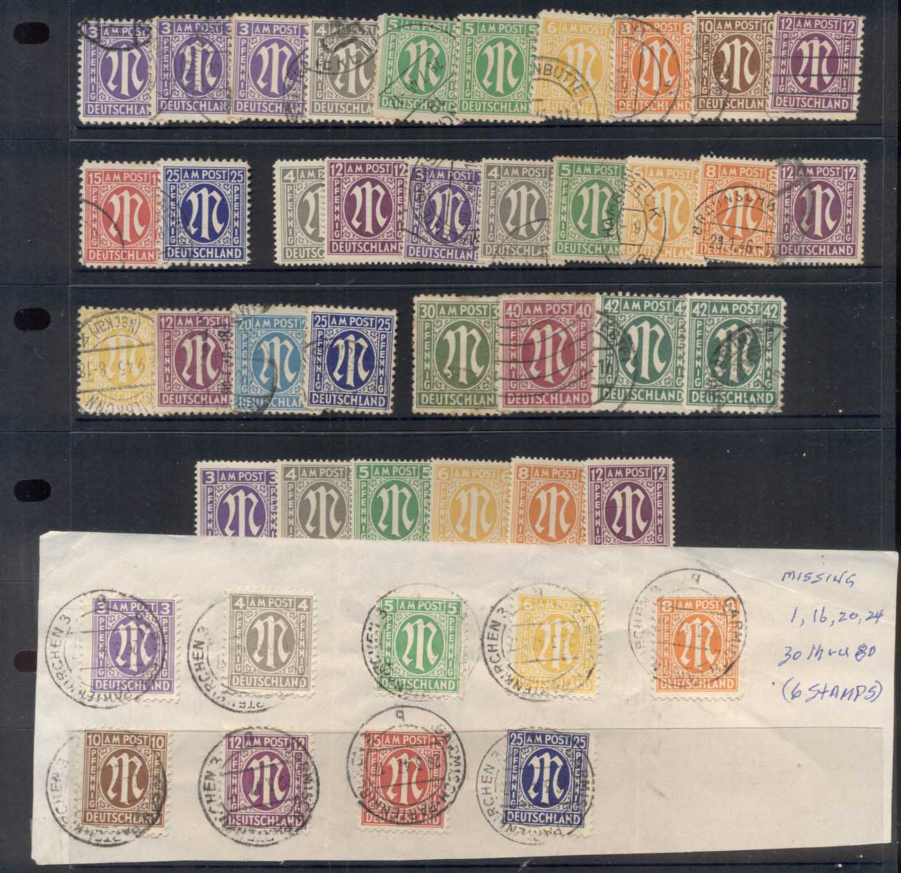 Germany 1945-46 AMG mixed printings assortment, some tones, Mint & used