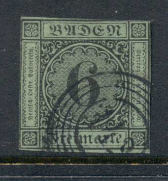 Germany Baden 1851 Numeral 6kr FU