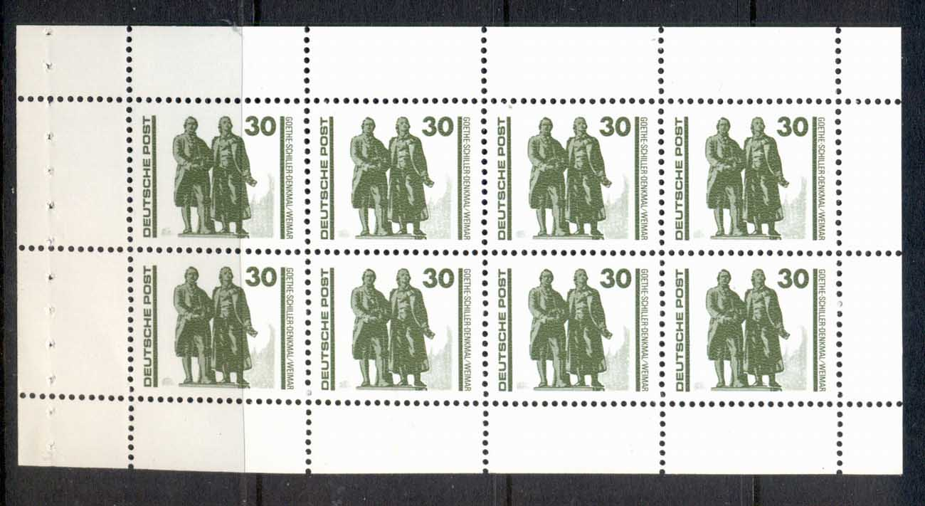 Germany DDR 1990 Goethe-Schiller Monument 30pf booklet pane MUH
