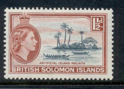 Solomon Is 1956-60 QEII Pictorial, Artificial Island, Malaita 1.5d MUH