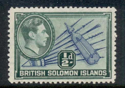 Solomon Is 1939-51 KGVI Pictorial, Spears & Shield .5d MLH