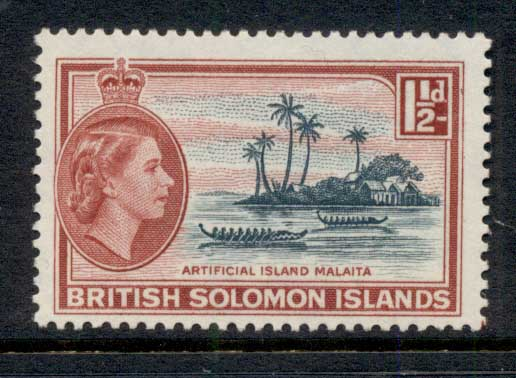 Solomon Is 1956-60 QEII Pictorial, Artificial Island, Malaita 1.5d MLH