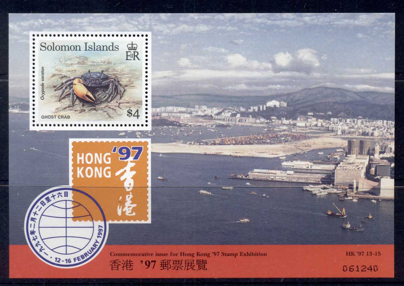 Solomon Is 1997 Hong Kong Stamp Ex, Ghost Crab MS MUH