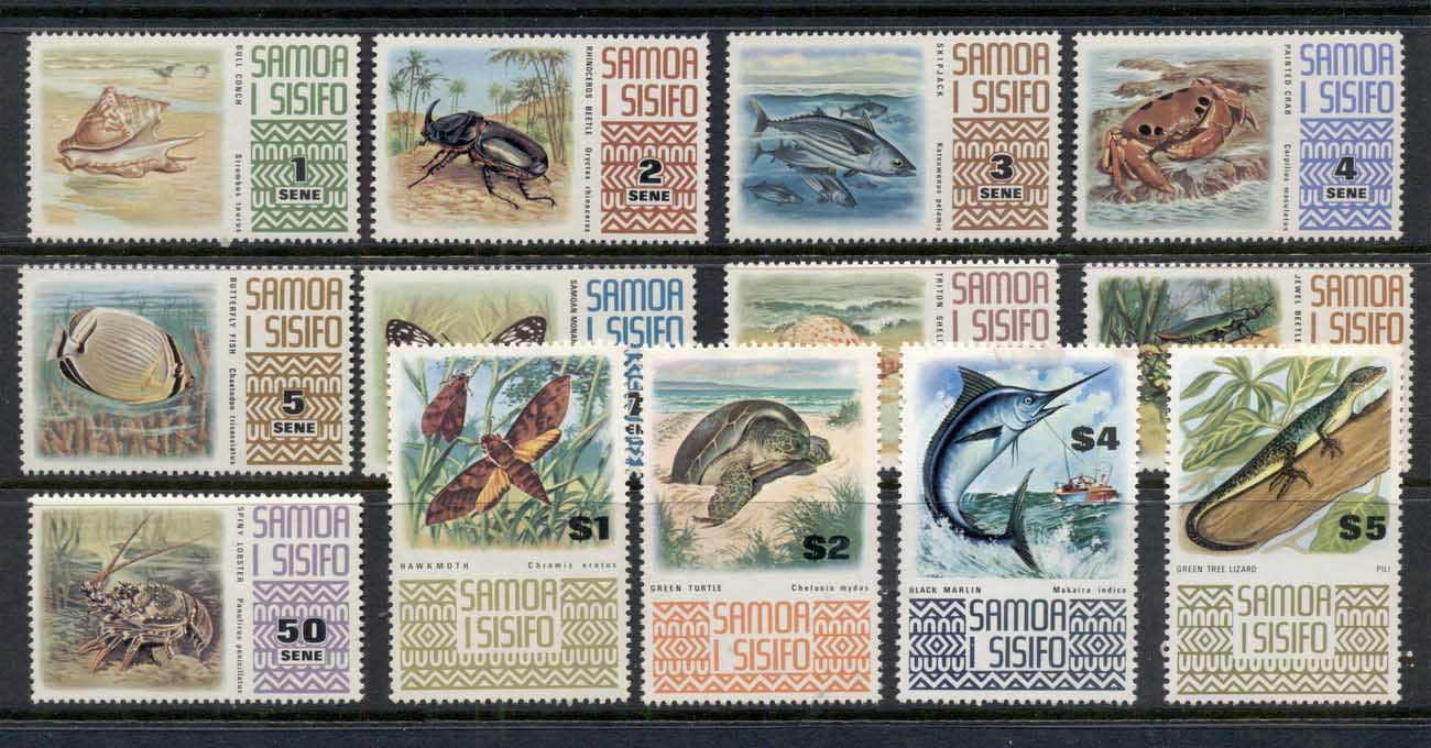 Samoa 1972-75 Pictorials, Marine Life (faults, light stains) MUH