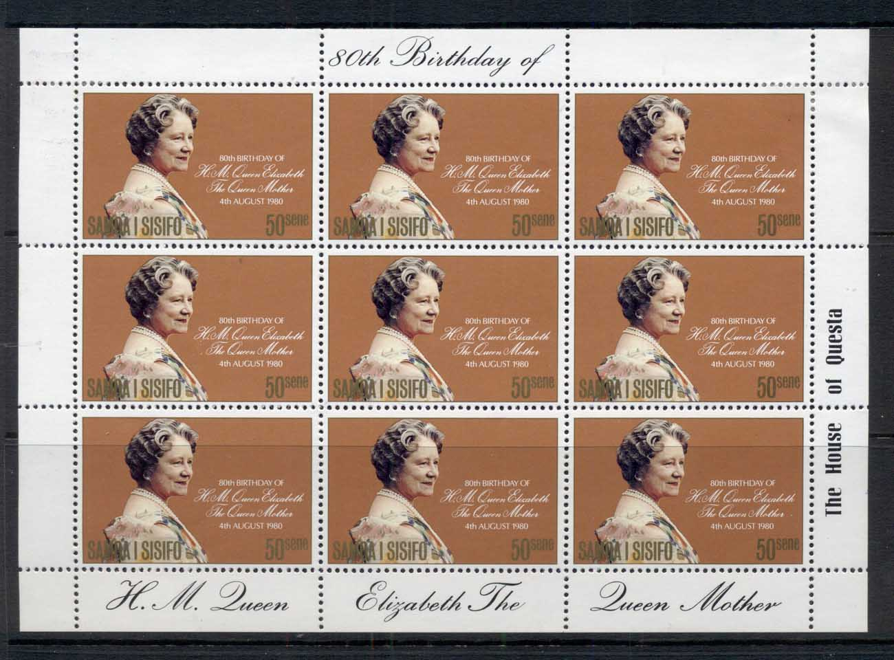 Samoa 1980 Queen Mother 80th Birthday sheetlet MLH