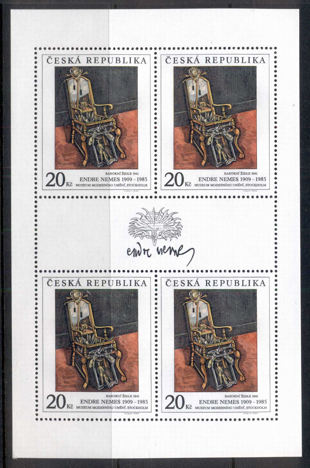 Czech Republic 1996 Art, Baroque Chair sheet 4 MUH