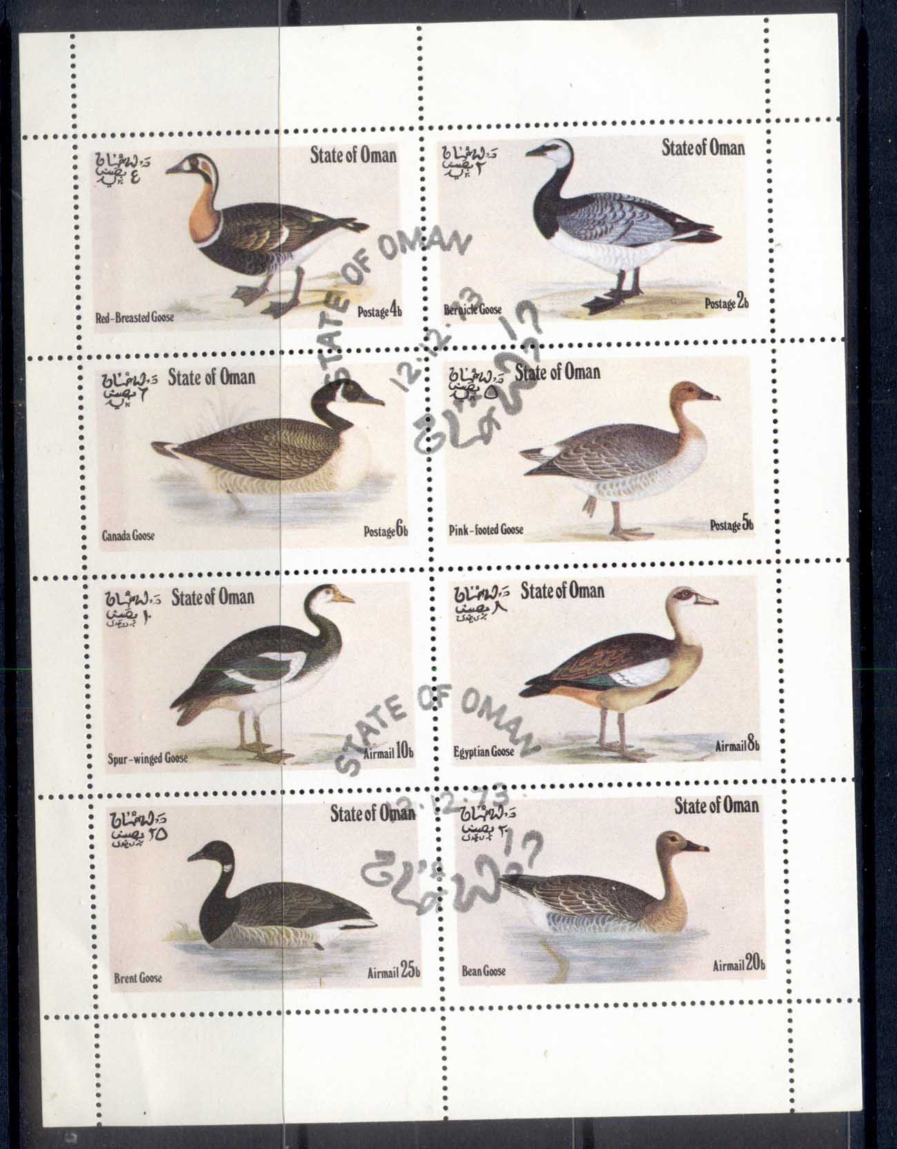 Oman State 1973 Birds, Ducks, Waterfowl sheetlet CTO