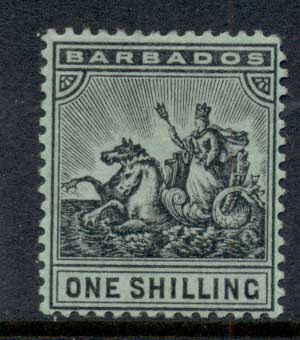 Barbados 1904-1910 Badge of Colony 1/- black on green MLH