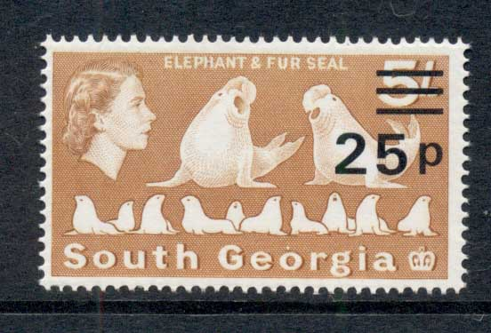 South Georgia 1971-72 QEII Pictorial Elephant & Fur Seals 25p on 5/- MUH
