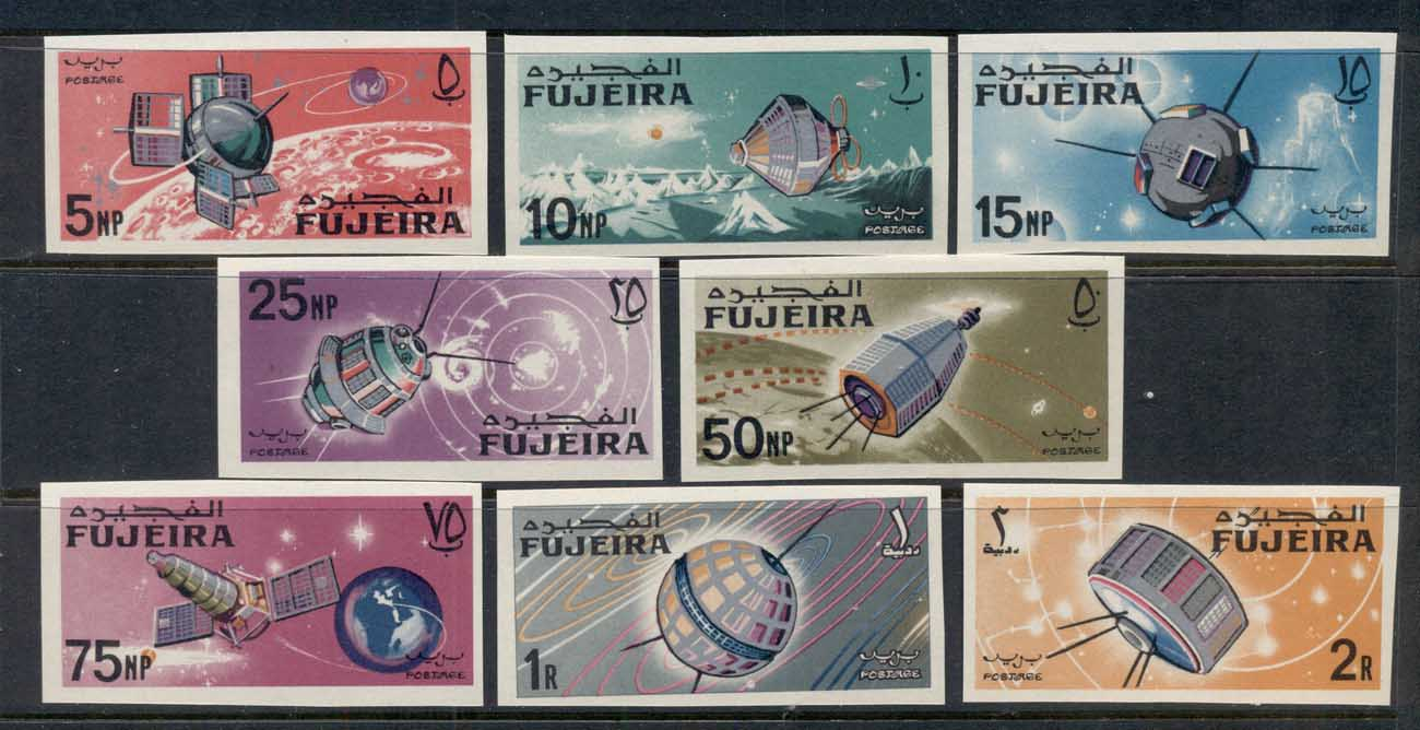 Fujeira 1966 Mi#70-77B Space Research IMPERF MUH