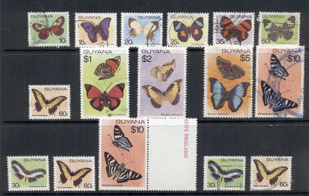 Guyana 1978-80 Insects, Butterflies Asst FU/MUH