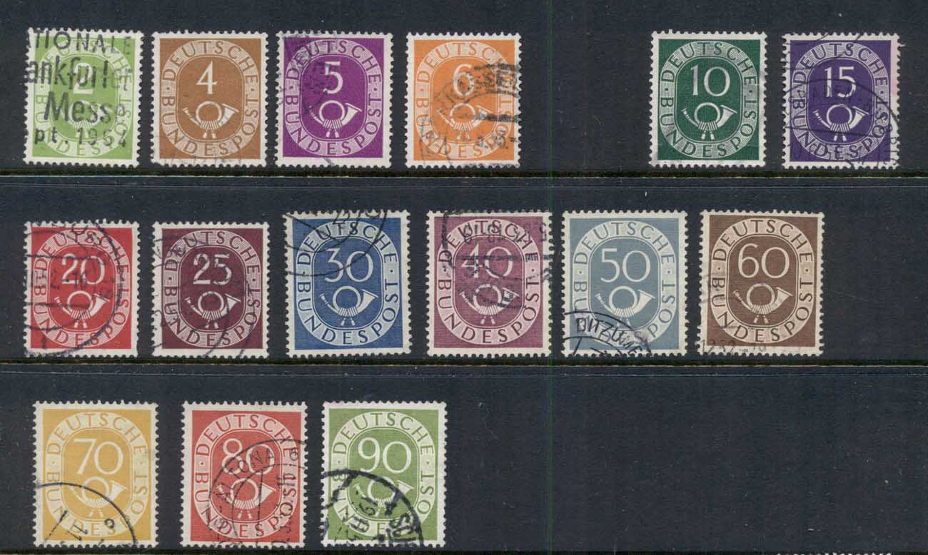 Germany 1951-52 Numeral & Post Horn Asst (15/16, no 8pf) FU