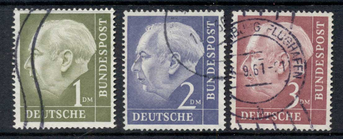 Germany 1954-56 Pres. Theodor Heuss 1.2.3m FU