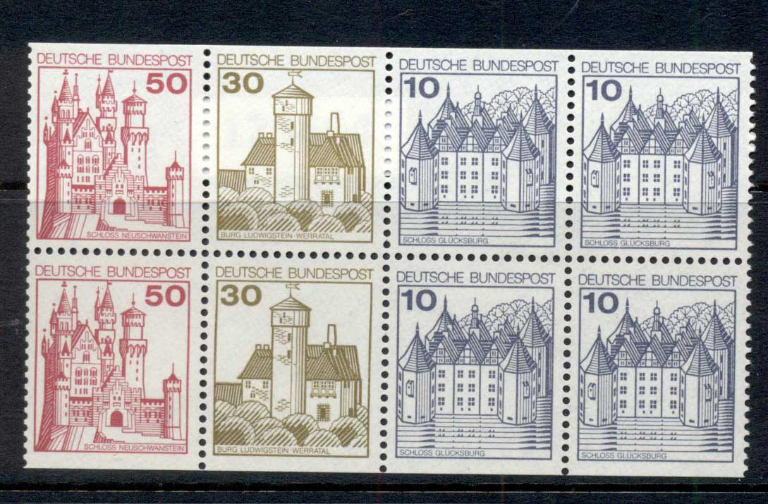 Germany 1977-79 Castles booklet pane 2x50, 2x30, 4x10 MUH